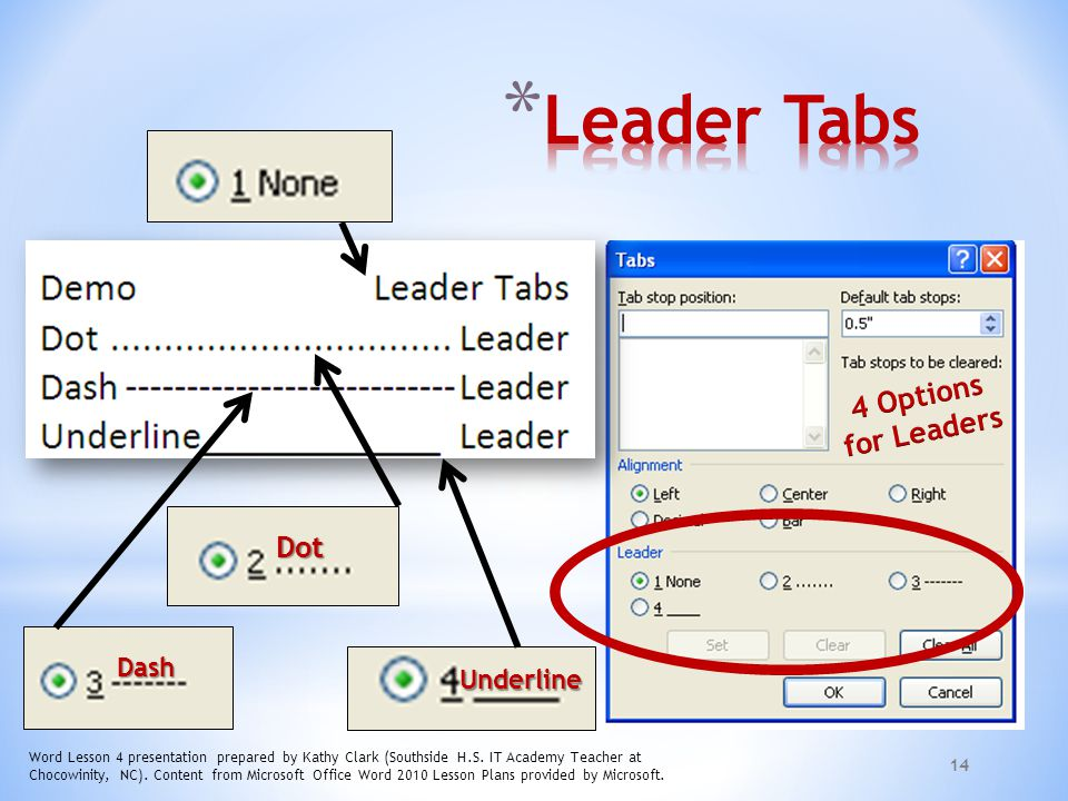Leader Tabs 4 Options for Leaders Dot Dash Underline