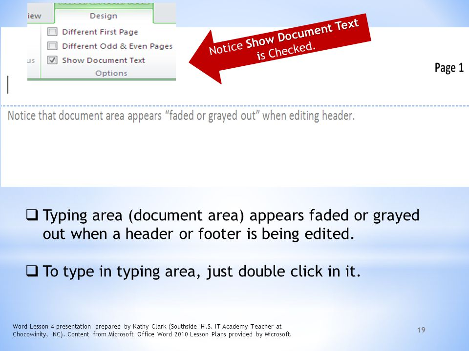 Notice Show Document Text is Checked.