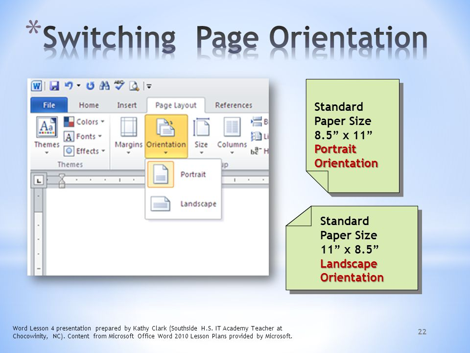 Switching Page Orientation