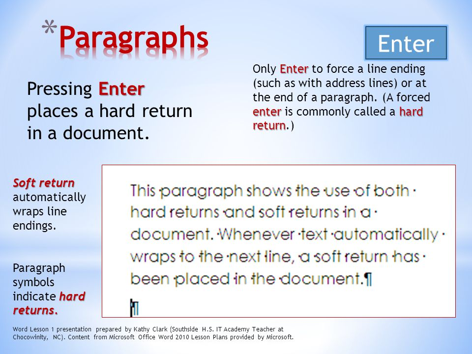 Paragraphs Enter Pressing Enter places a hard return in a document.