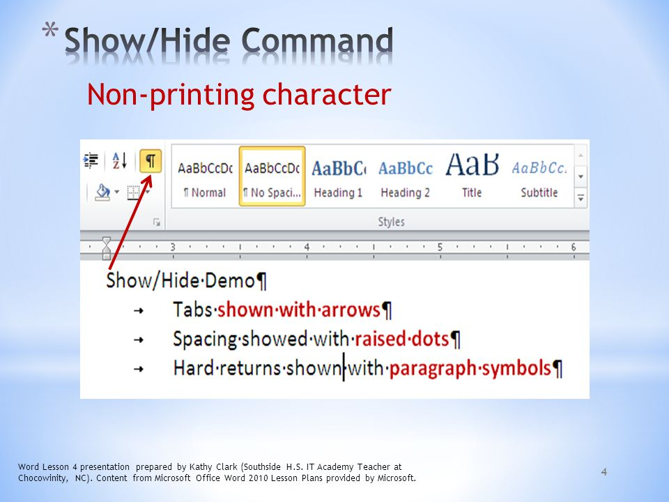 Show/Hide Command Non-printing character