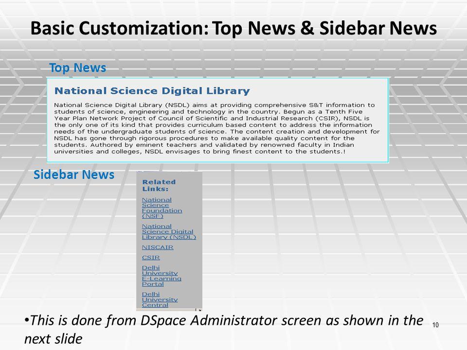 Basic Customization: Top News & Sidebar News