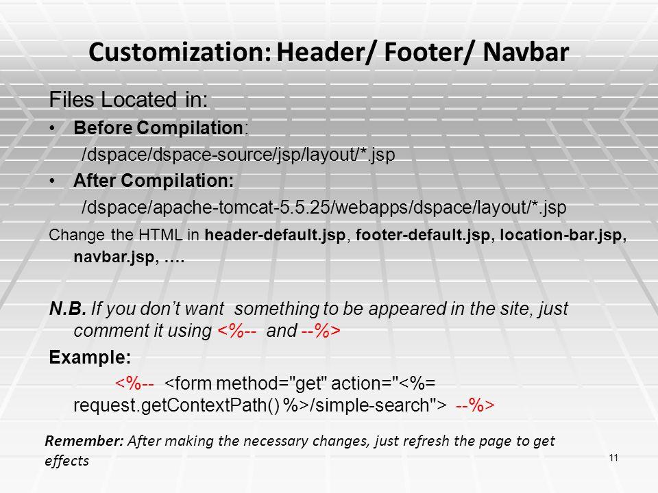 Customization: Header/ Footer/ Navbar