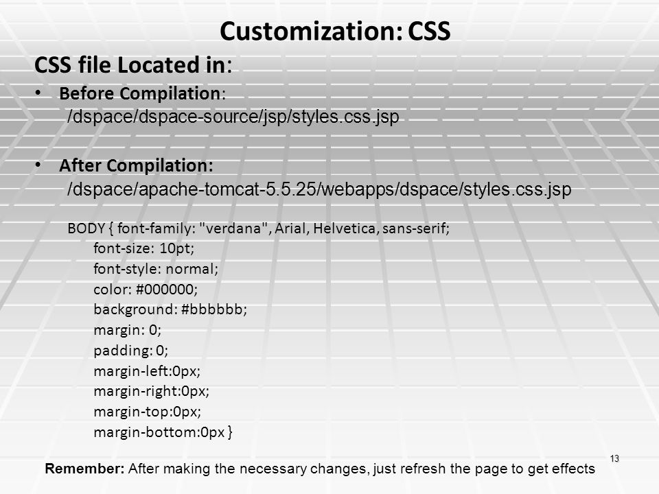 Customization: CSS CSS file Located in: Before Compilation: