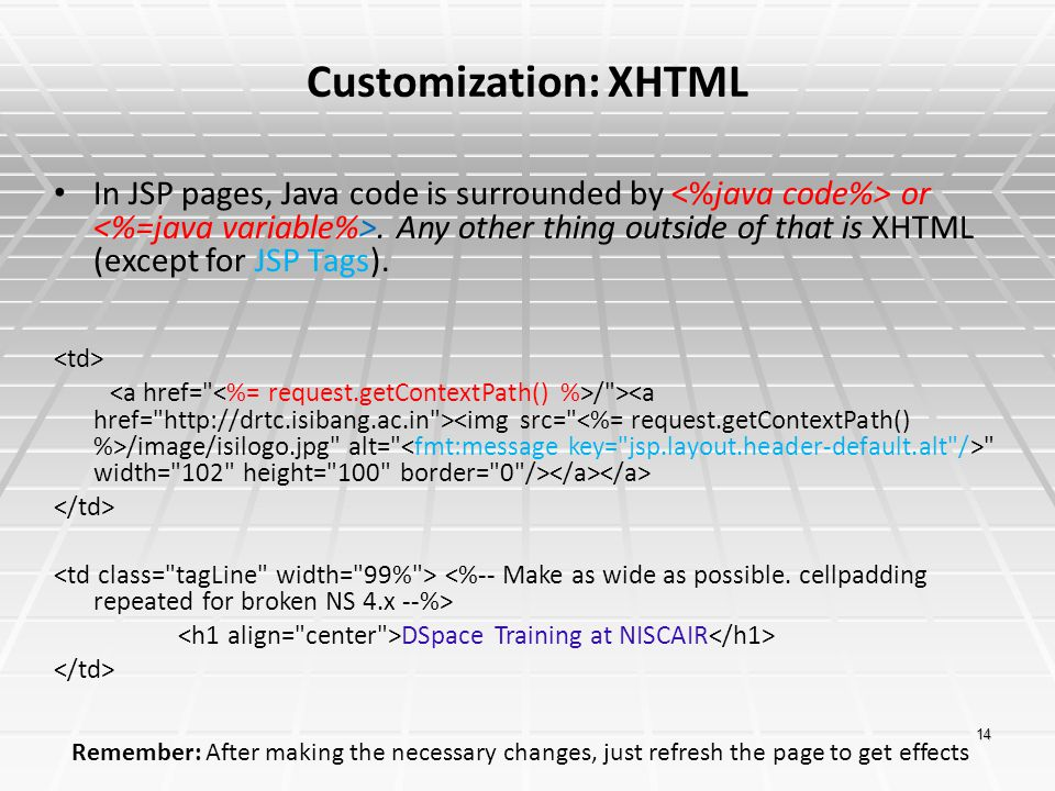 Customization: XHTML