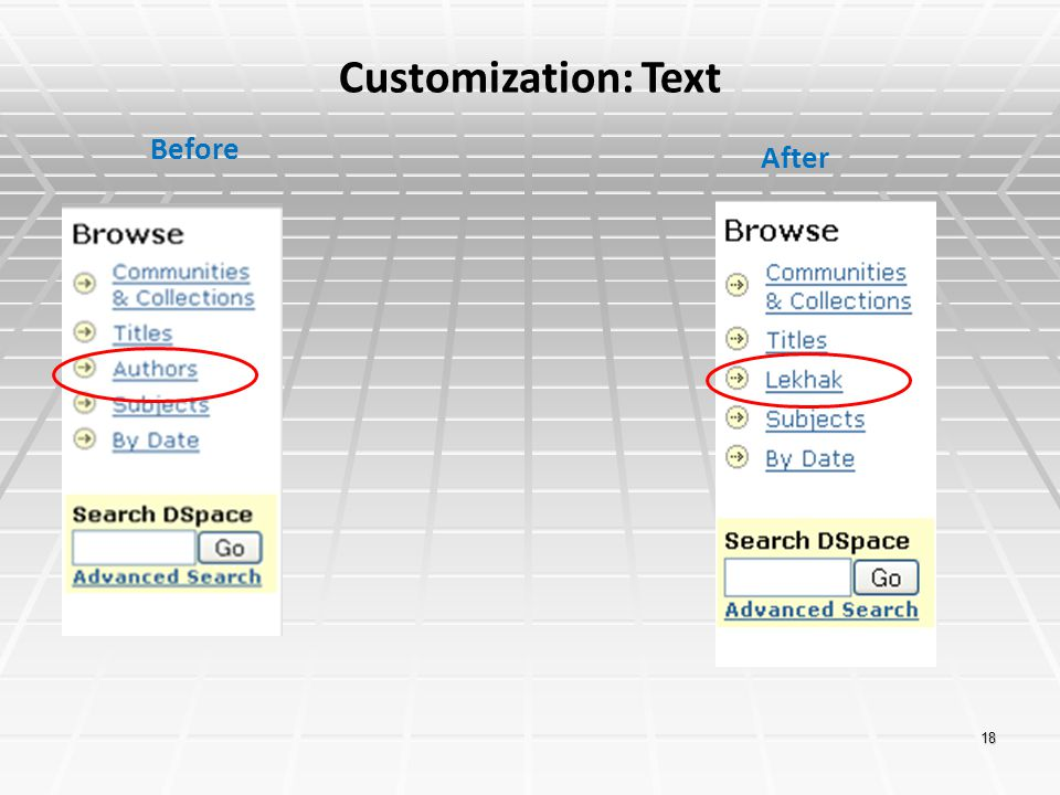 Customization: Text Before After