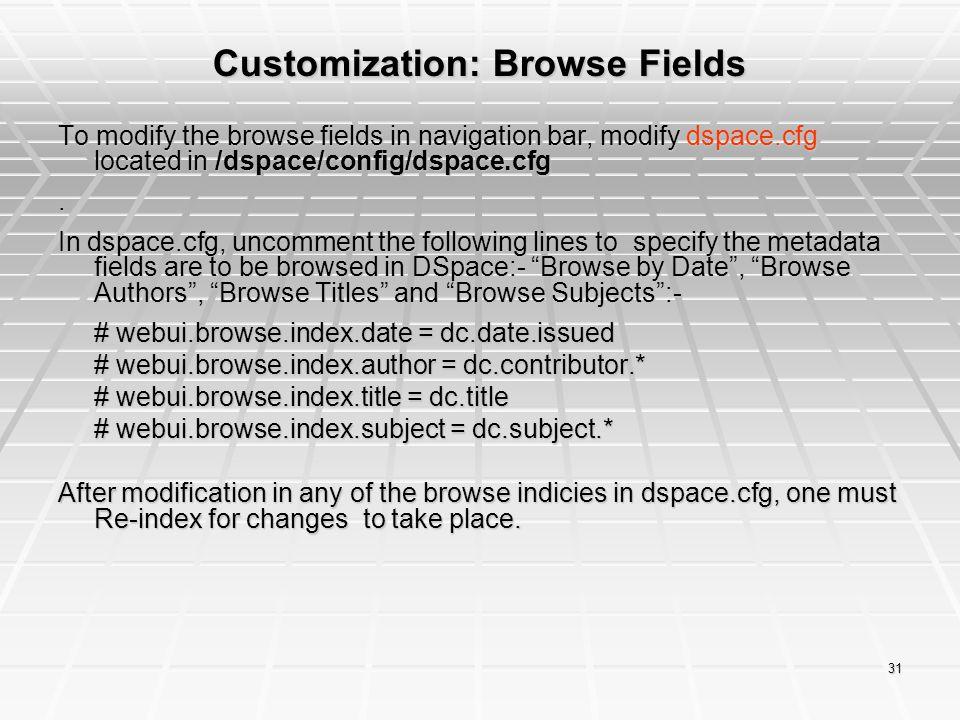 Customization: Browse Fields