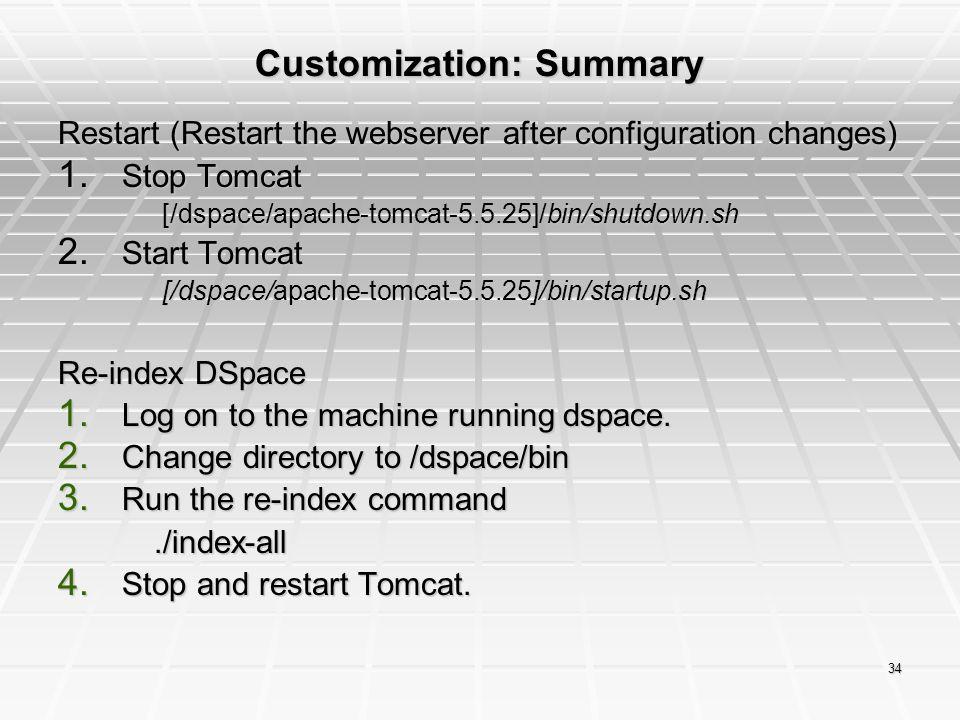 Customization: Summary