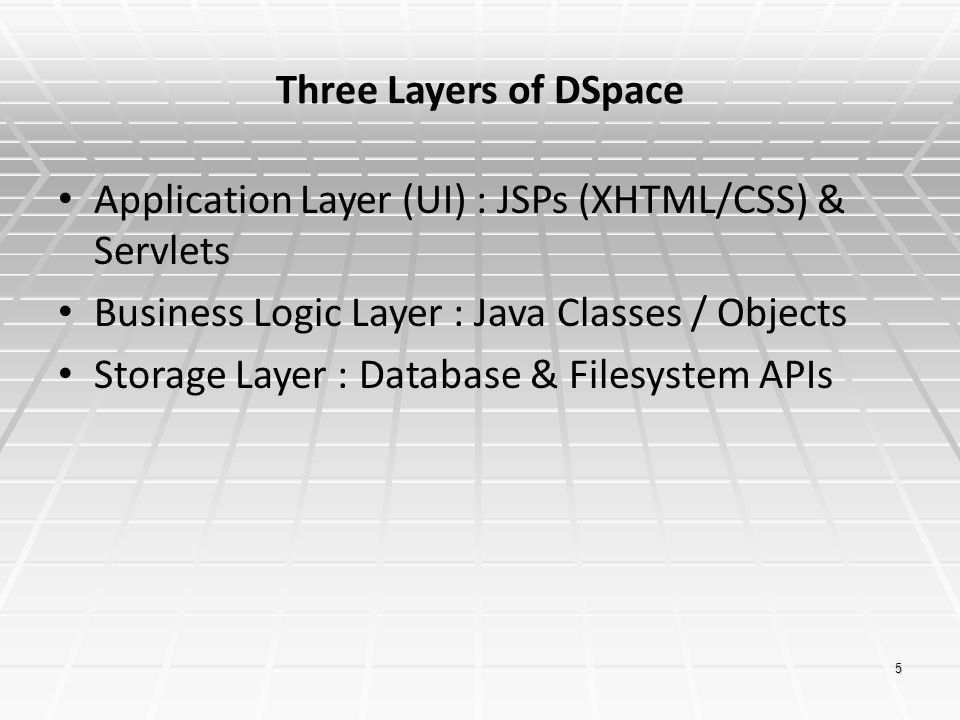 Three Layers of DSpace Application Layer (UI) : JSPs (XHTML/CSS) & Servlets. Business Logic Layer : Java Classes / Objects.