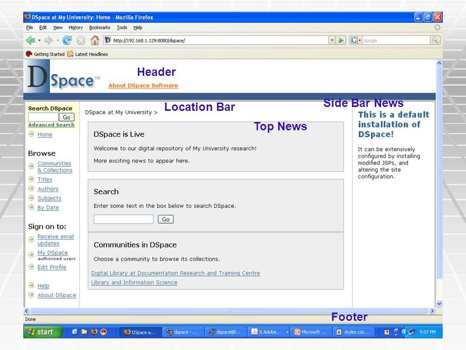 Header Side Bar News Location Bar Top News Footer