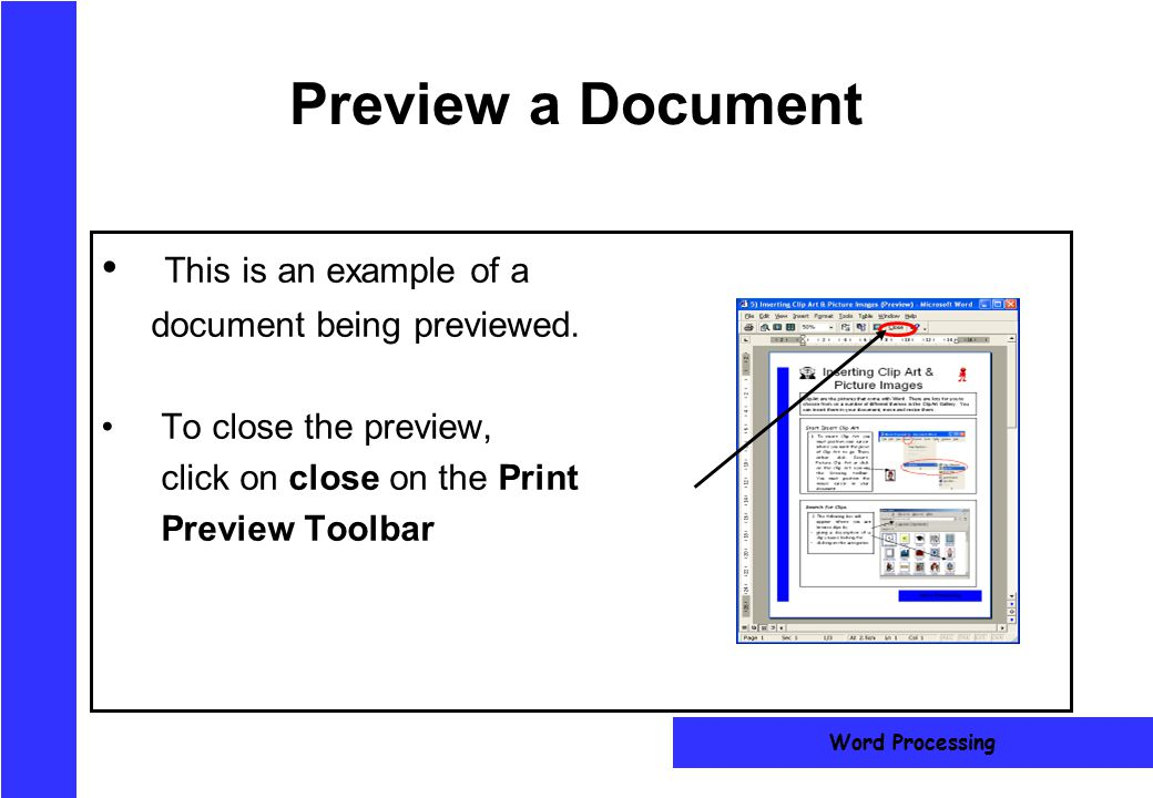 Preview a Document This is an example of a document being previewed.