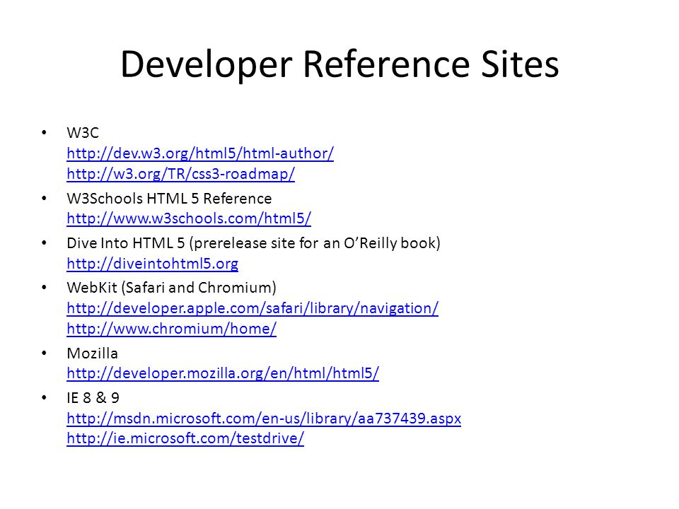 Developer Reference Sites