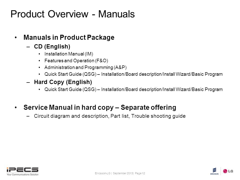 Product Overview - Manuals
