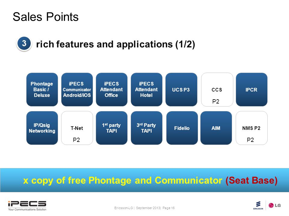 x copy of free Phontage and Communicator (Seat Base)