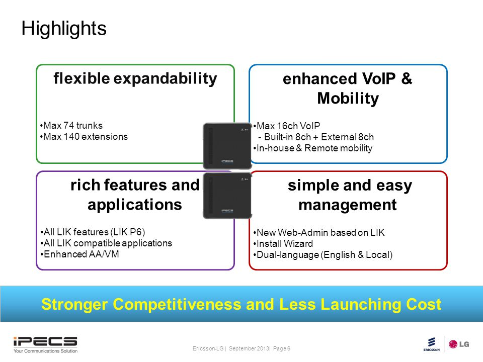 Highlights flexible expandability enhanced VoIP & Mobility