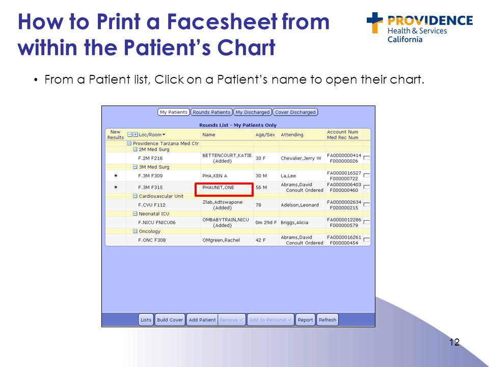 How to Print a Facesheet from within the Patient's Chart