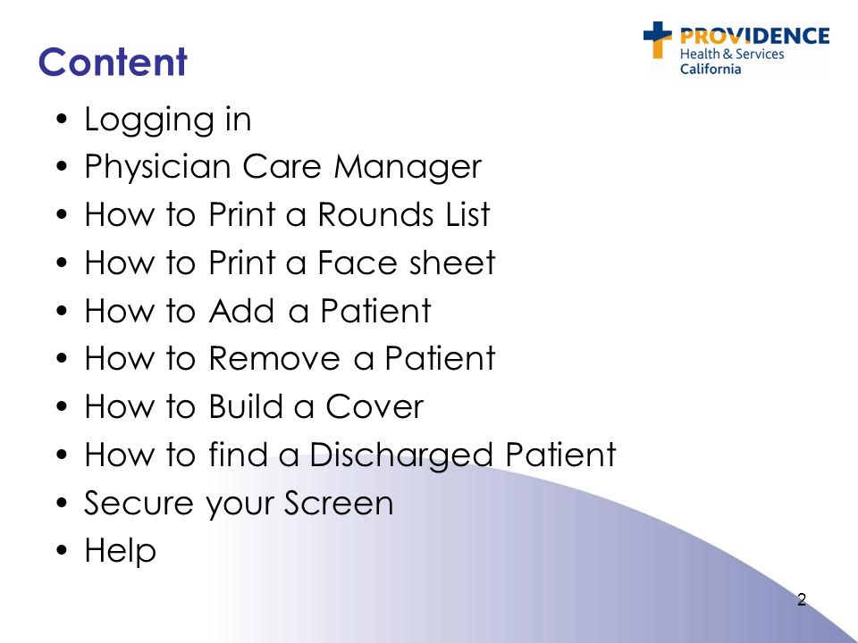 Content Logging in Physician Care Manager How to Print a Rounds List