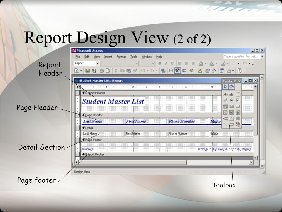 Report Design View (2 of 2)