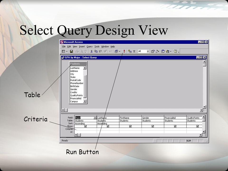Select Query Design View