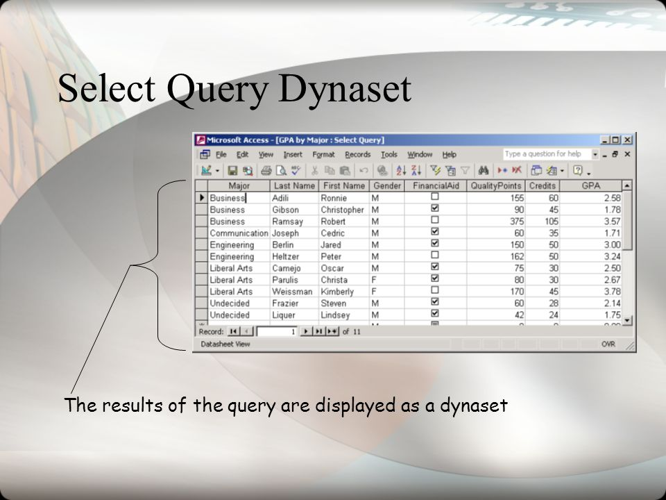 Select Query Dynaset The results of the query are displayed as a dynaset