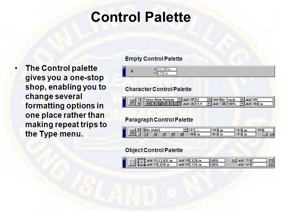 Control Palette Empty Control Palette.