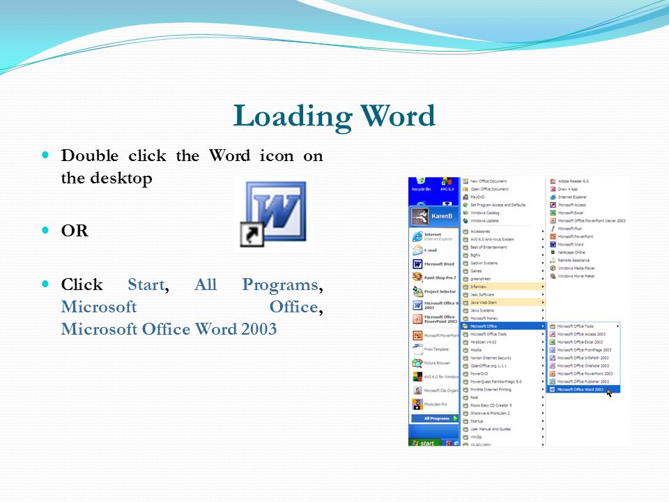Loading Word Double click the Word icon on the desktop OR