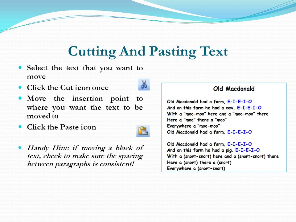 Cutting And Pasting Text