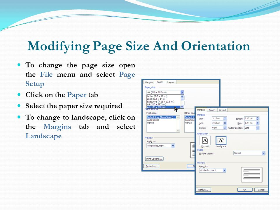Modifying Page Size And Orientation