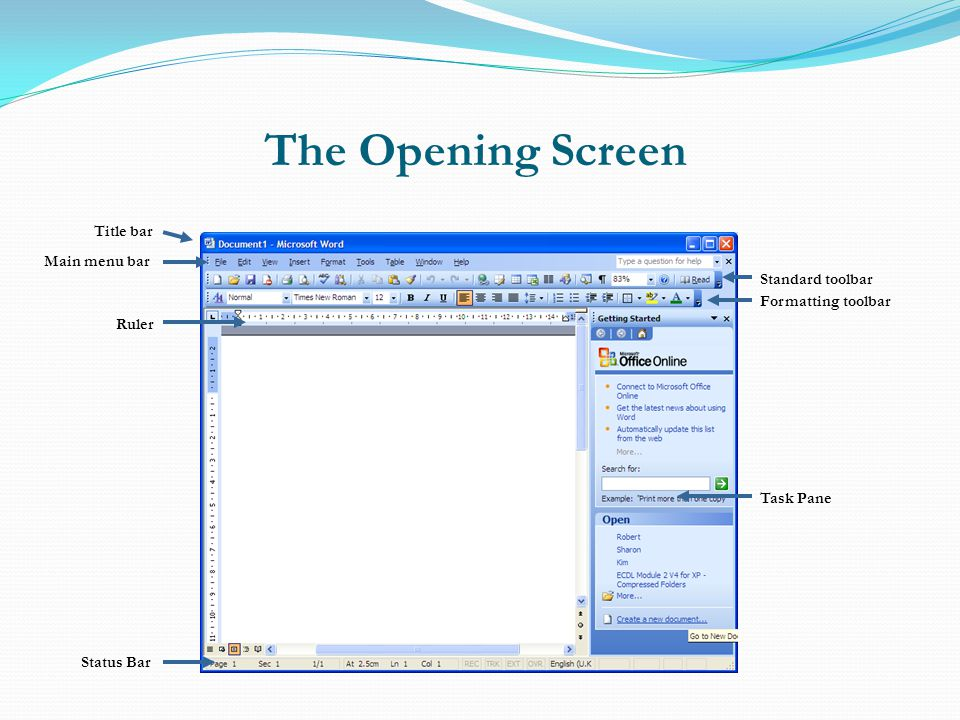 The Opening Screen Main Window Title bar Main menu bar