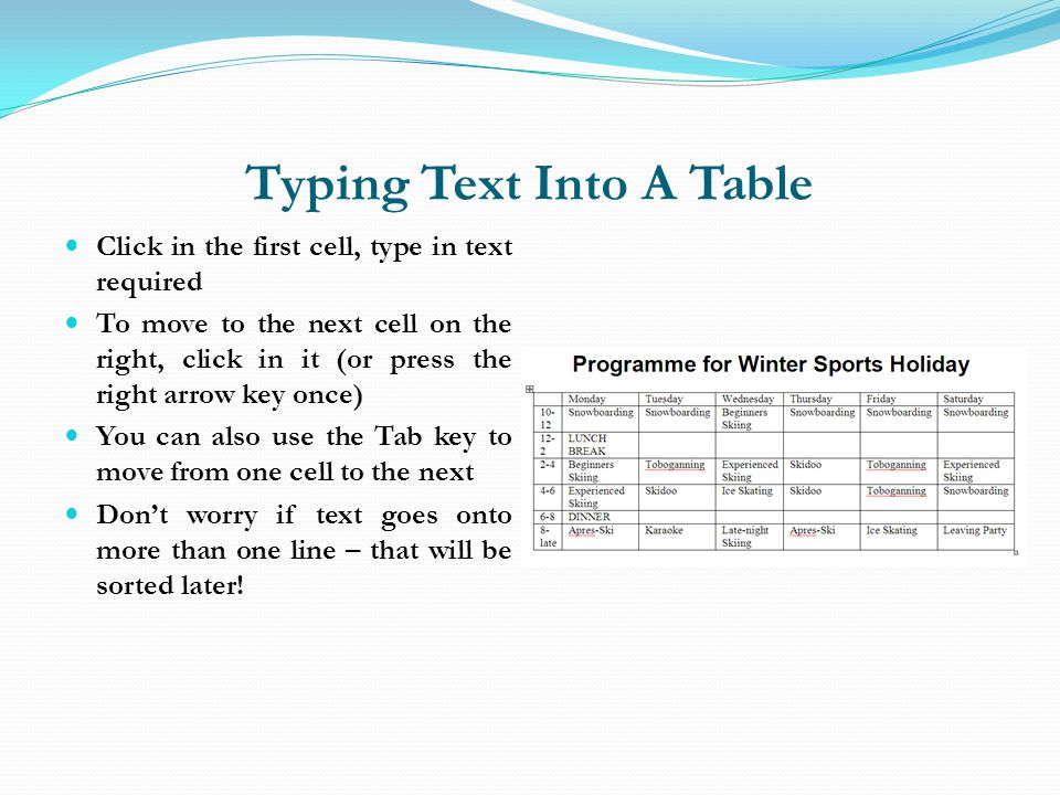 Typing Text Into A Table
