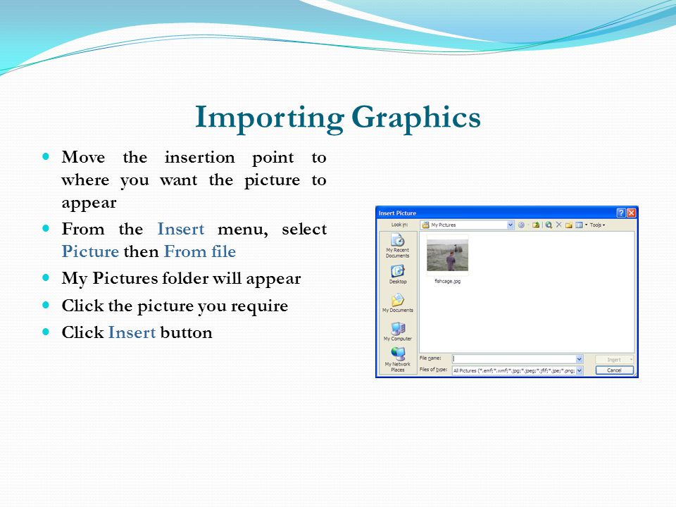 Importing Graphics Move the insertion point to where you want the picture to appear. From the Insert menu, select Picture then From file.