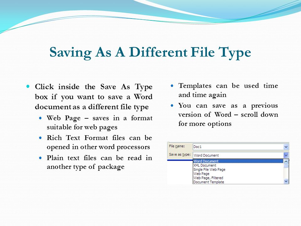 Saving As A Different File Type