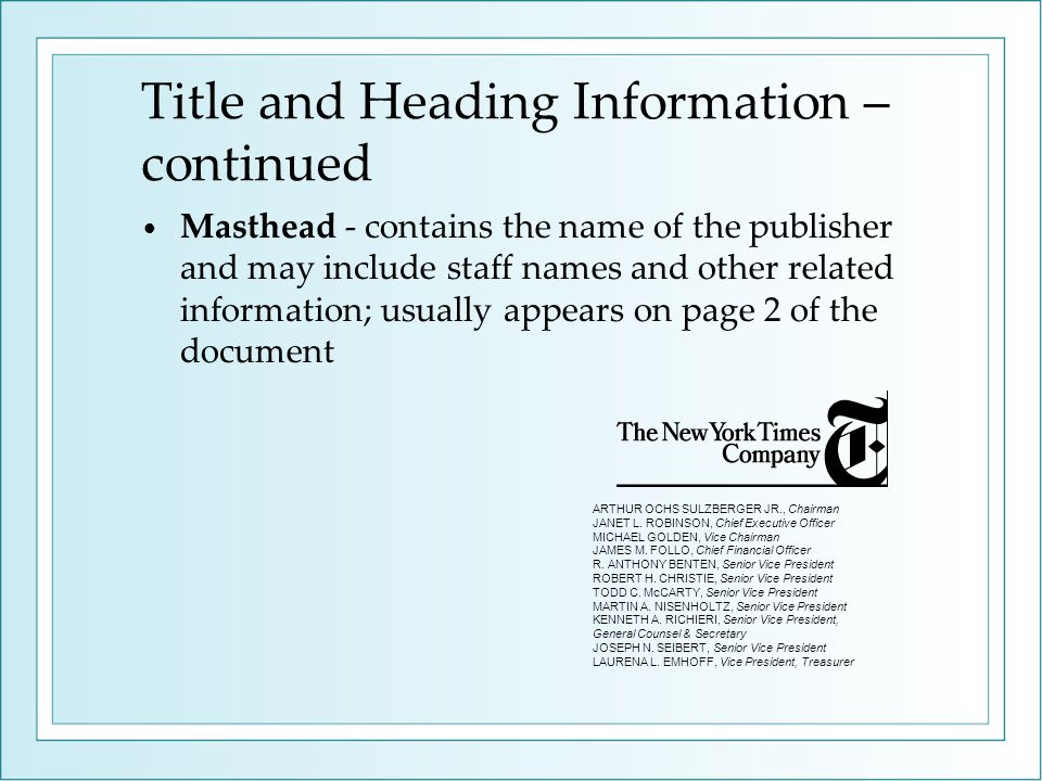 Title and Heading Information – continued
