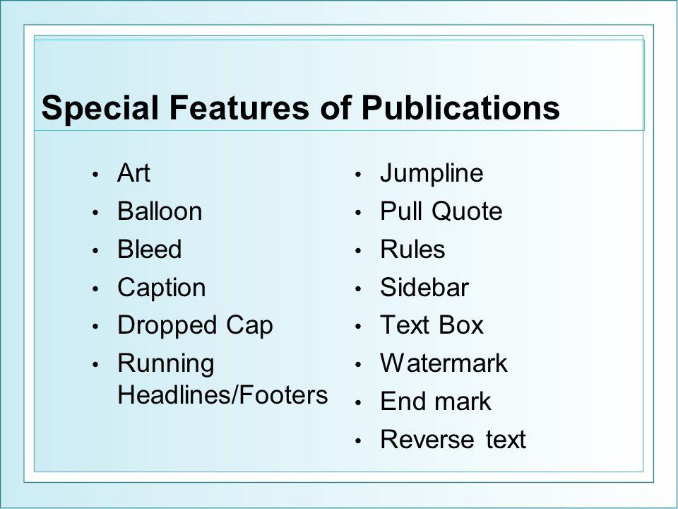 Special Features of Publications