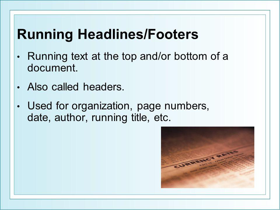 Running Headlines/Footers