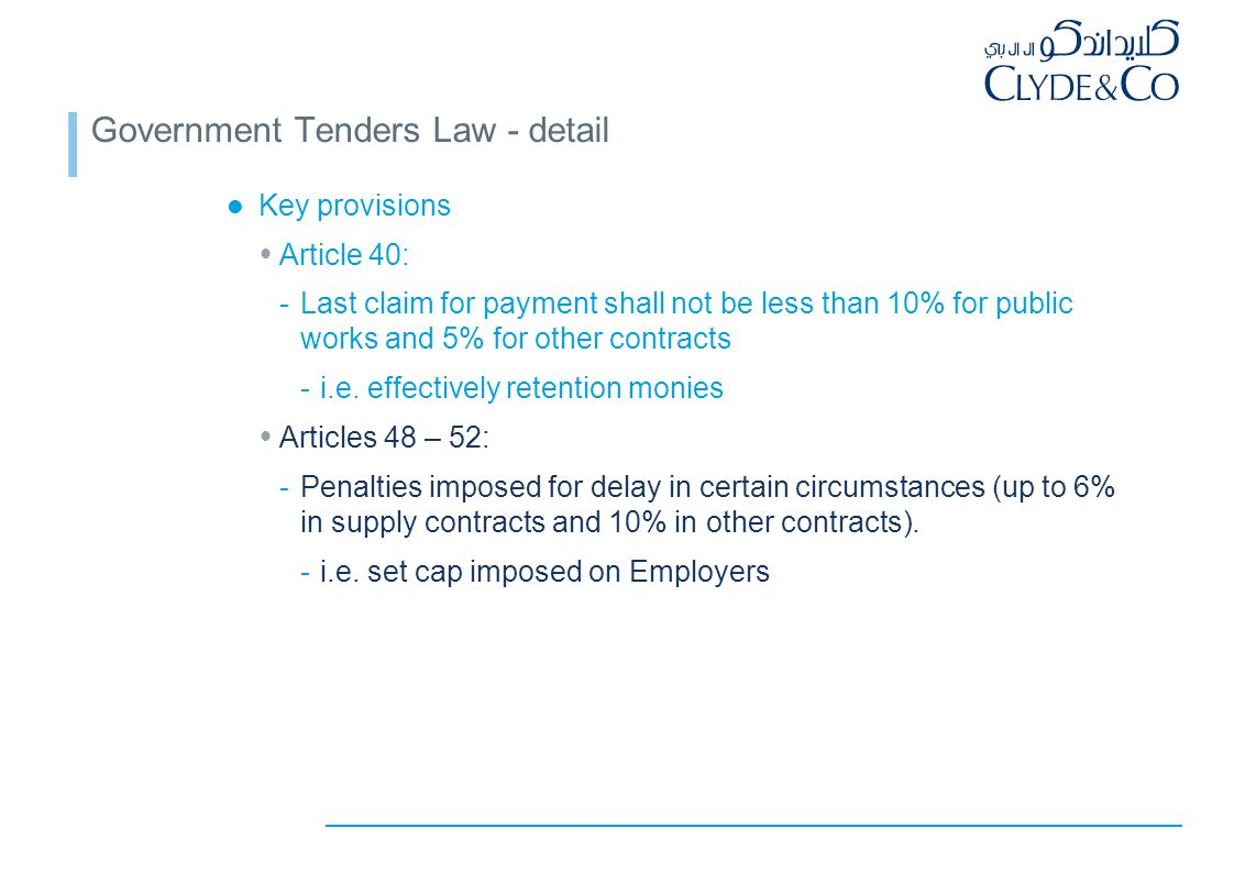 Government Tenders Law - detail