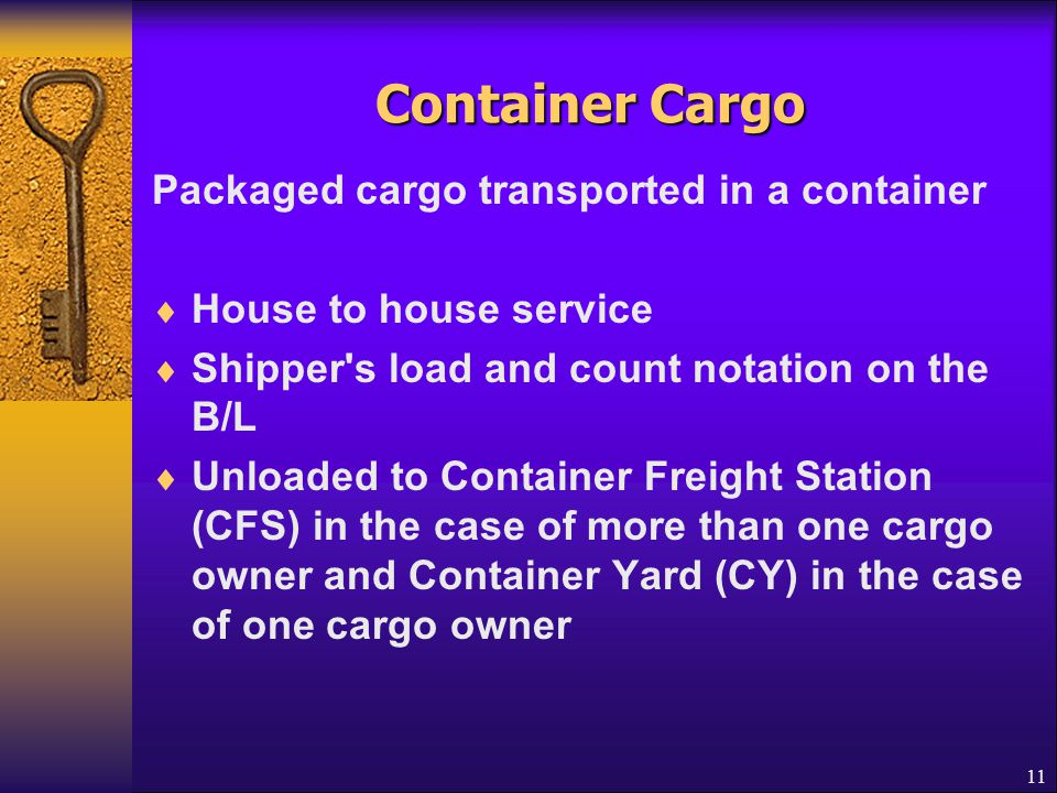 Container Cargo Packaged cargo transported in a container