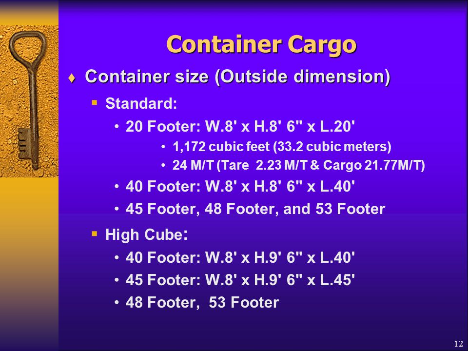 Container Cargo Container size (Outside dimension) Standard: