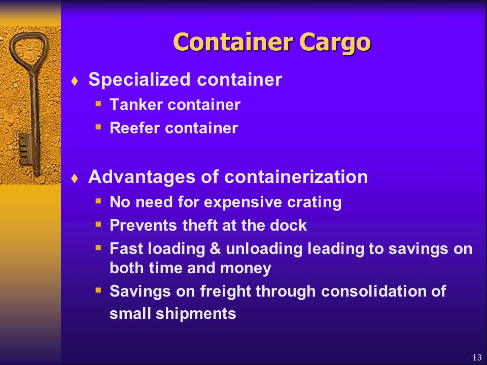 Container Cargo Specialized container Advantages of containerization