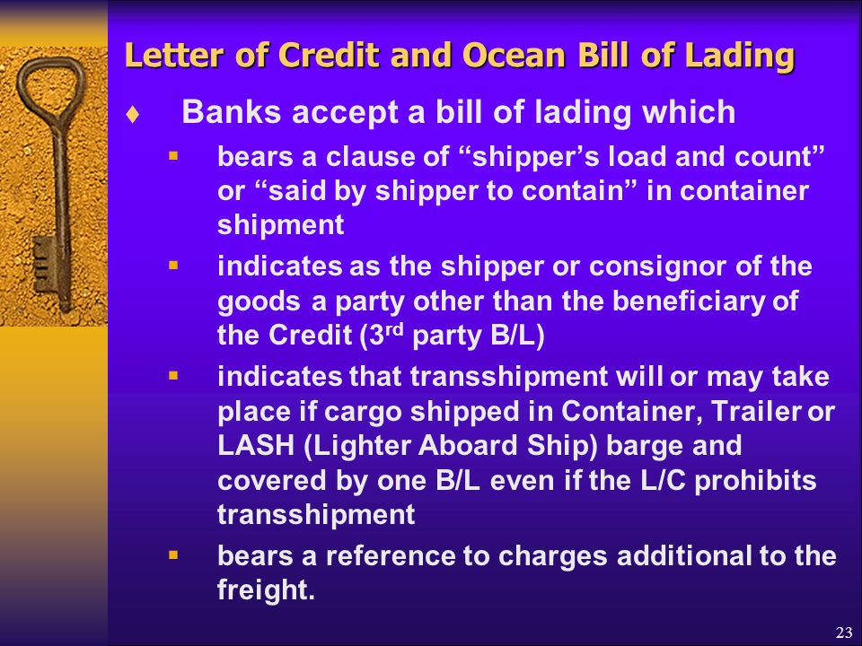 Letter of Credit and Ocean Bill of Lading