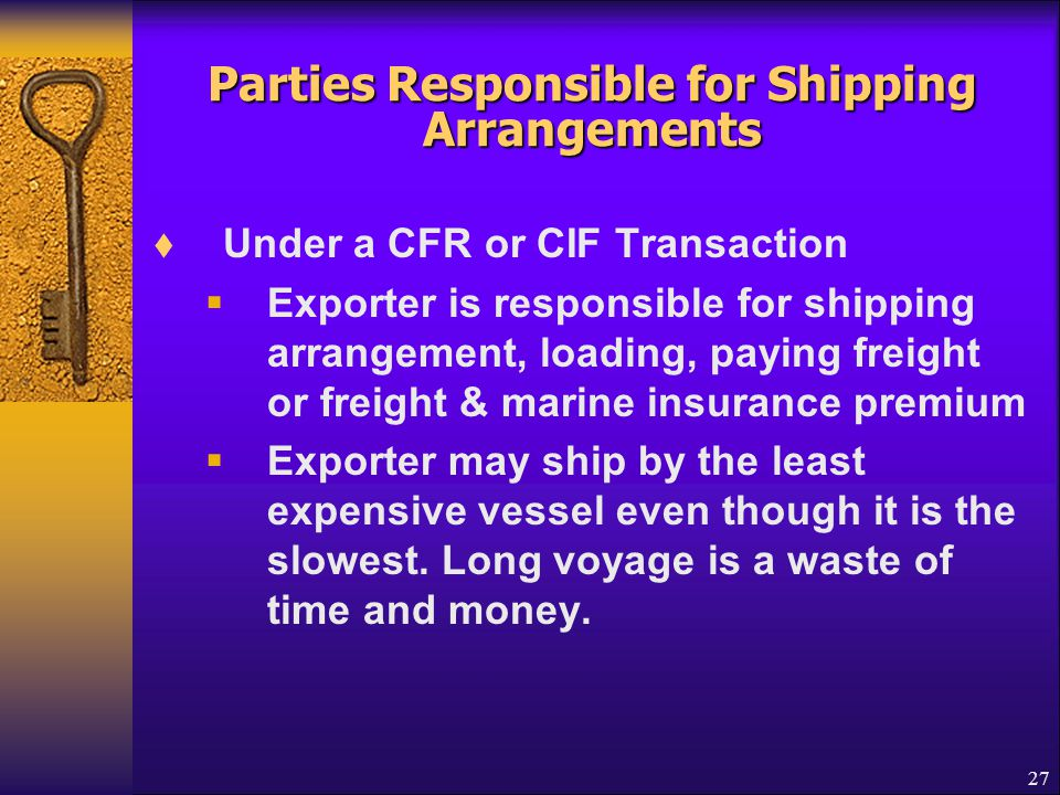 Parties Responsible for Shipping Arrangements