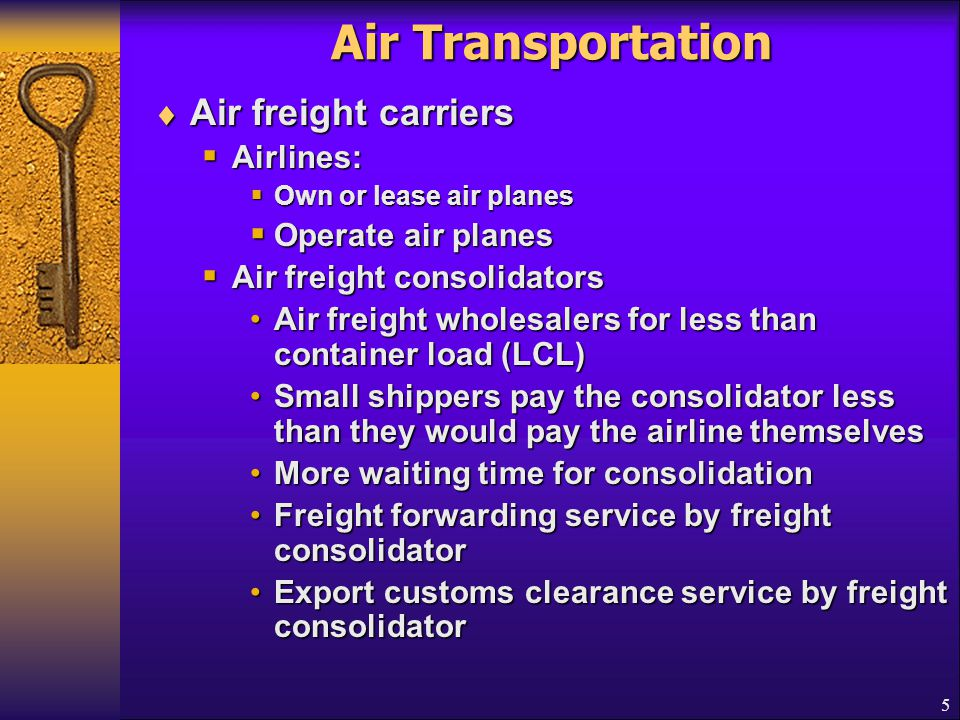 Air Transportation Air freight carriers Airlines: Operate air planes
