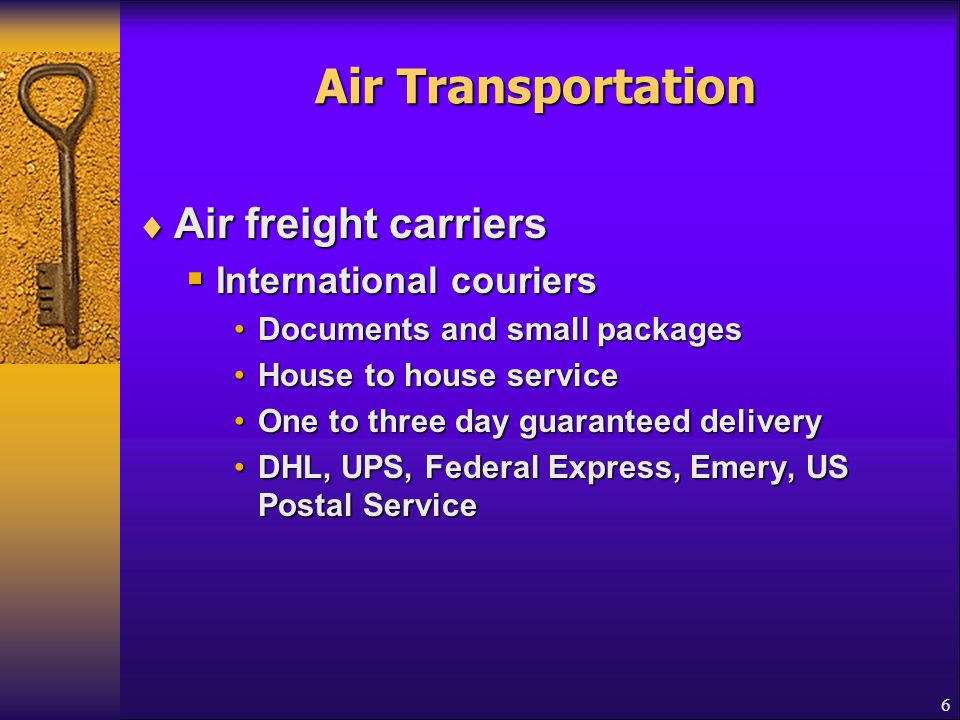 Air Transportation Air freight carriers International couriers