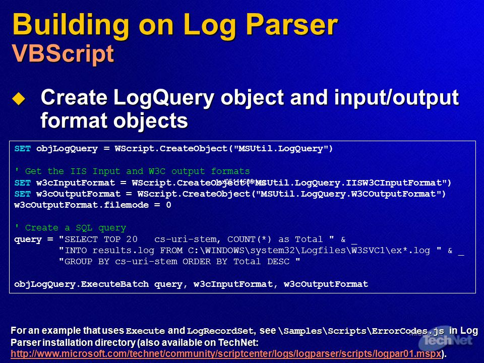 Building on Log Parser VBScript