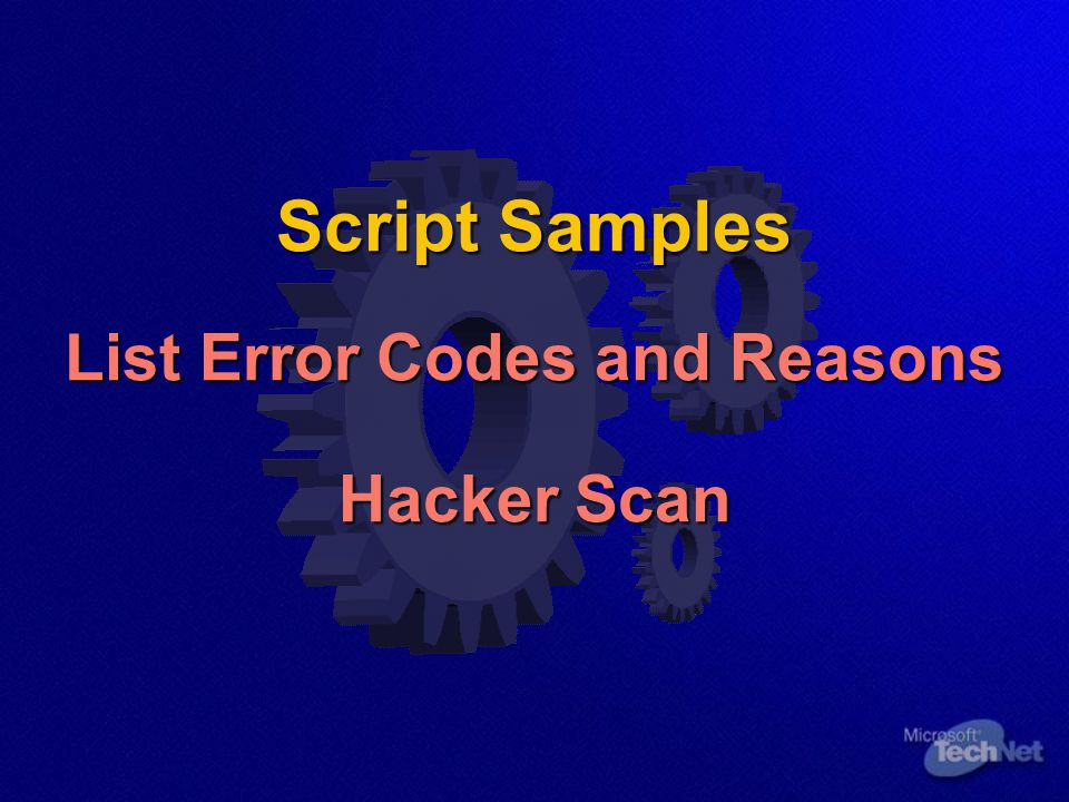 Script Samples List Error Codes and Reasons Hacker Scan