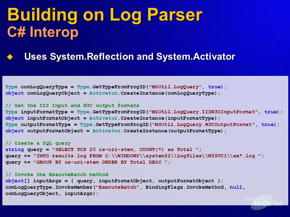Building on Log Parser C# Interop