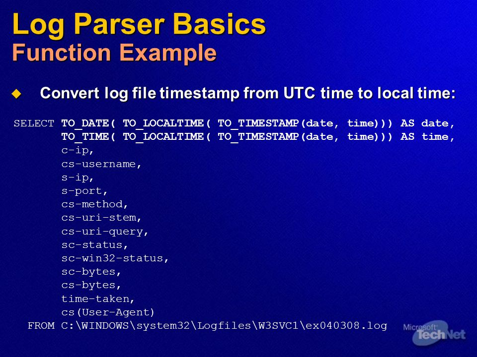 Log Parser Basics Function Example
