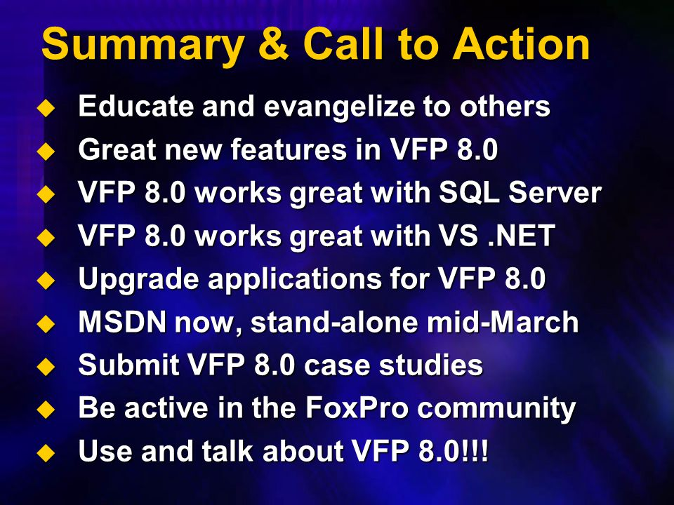 Summary & Call to Action