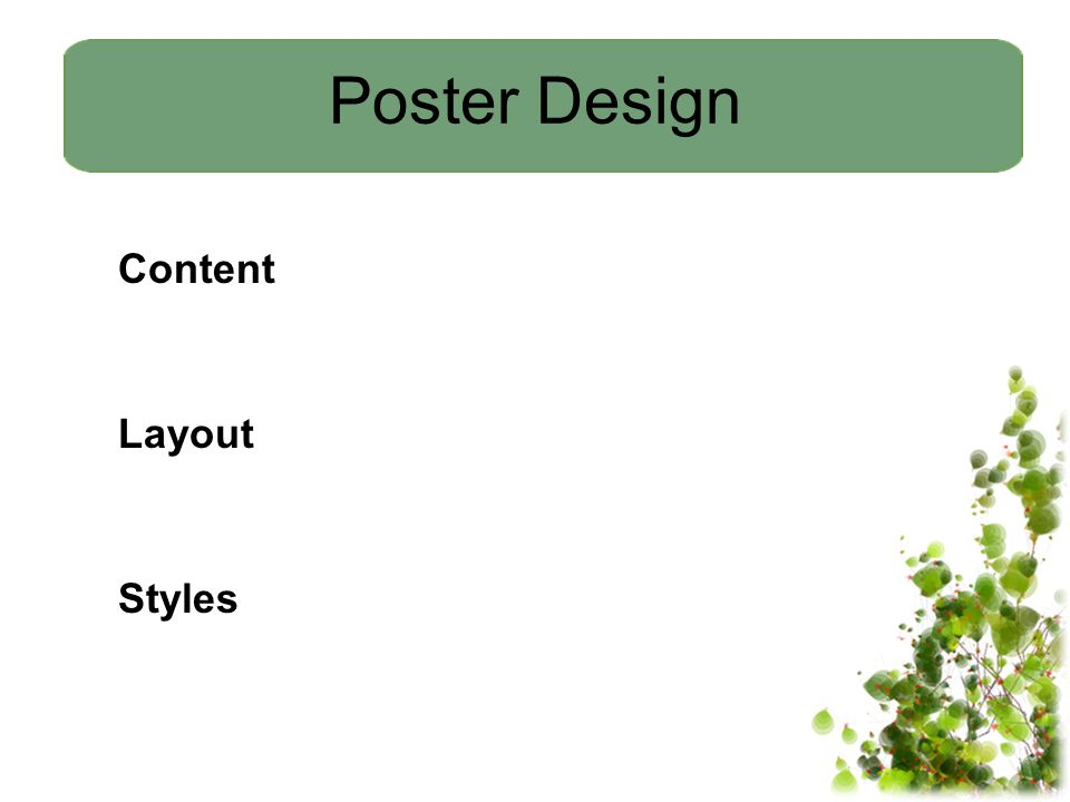 Poster Design Content Layout Styles