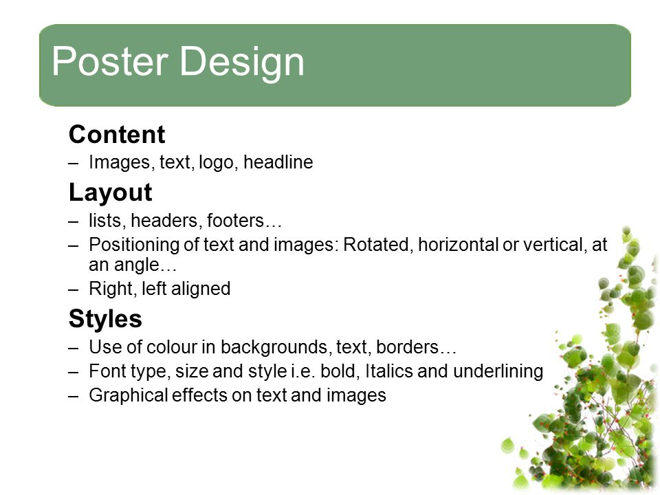 Poster Design Content Layout Styles Images, text, logo, headline